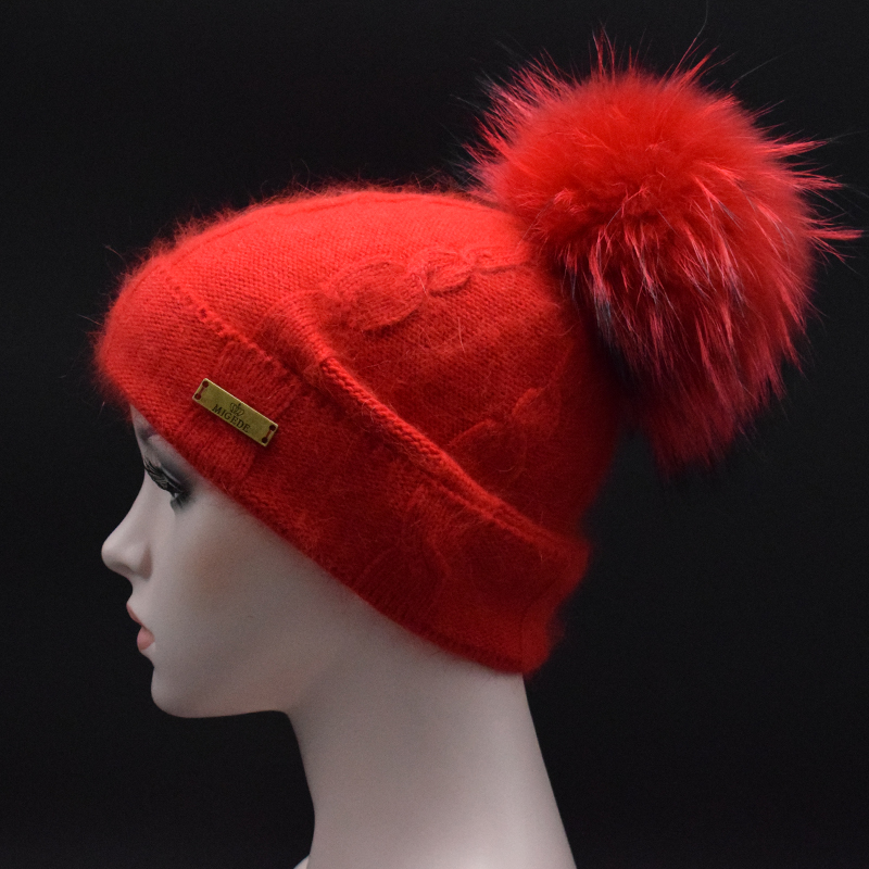 22CM Real mink pom poms wool rabbit fur knitted hat Skullies winter wool knit hat for women girls hat feminino beanies hat Îäåæäà è àêñåññóàðû<br><br>