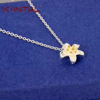 Kinitial 1Pcs 925 Silver Women Fashion Statement Star Flower Necklace Pendant Clain Drop Flowers Necklace Accessory Jewelry