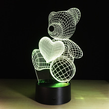 Cartoon Cute Heart Bear Shape Acrylic LED Lamp 3D Baby Night Light Sleeping Lighting