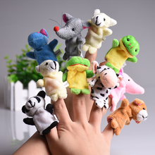 5pcs/set Cute Animal Finger Puppet Plush Toys Cartoon Biological Child Baby Favor Doll Kids Gifts Family Educational Finger Toy(China)