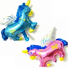 20pcs CuteCartoon Fly Horse Pegasus Foil Inflatable Balloon Decorative kids Unicorn Birthday Toys Wedding Party Shower Wholesale