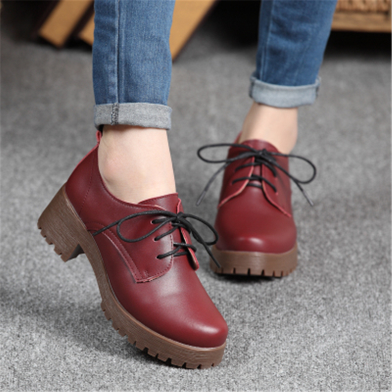 Spring and autumn preppy style genuine leather small leather lacing round toe single shoes thick heel with the womens shoes<br>