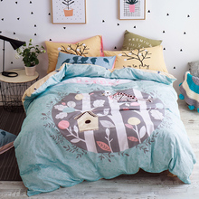Queen twin size cartoon bedding set light green tree printed quilt cover yellow bedspread/bird pillowcase 100% cotton coverlet