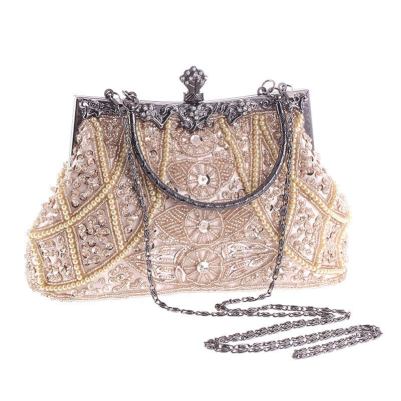 Vintage Evening Beaded Bags White Silver Wedding Bags For Bride Women  Messenger Party Handbags Elegant Handmade Clutch Purses Shoulder Bags  Designer Purses ... 94721c304b77