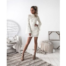 Zmvkgsoa Women's dresses White Flare Bell Long Sleeves Elegant Slim Bodycon Pencil Dress Sexy Club Wear Cheap Clothes China Y128
