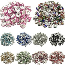 LNRRABC 50pcs 8mm DIY Siver Alloy Round Acrylic Crystal Spacer Loose Beads For Necklace Bracelet Metal Beads Charms Jewelry