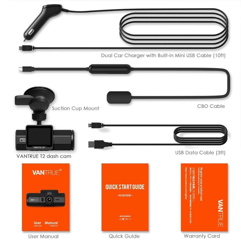 Vantrue T2 Dash Camera NT96655 Video Recorder 160 Degree View Wave Guard Packing Monitor Night Vision G-Sensor Car DVR Camera  (10)