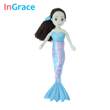 InGrace high quality princess style mermaid dolls for girls best gift toys for kids girls 10 colors 45CM dream stuffed girl doll(China)