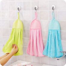 (6 peice/lot) Hand Towel in Kitchen Bathroom Solid Candy Color Coral Fleece 40X32cm