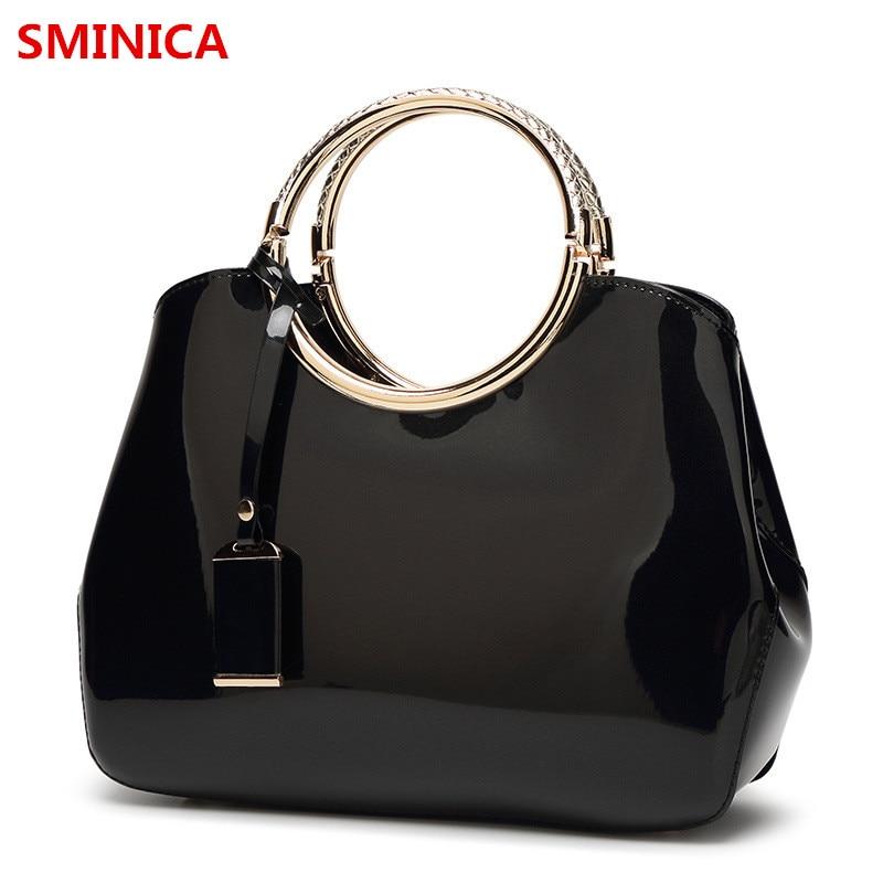 luxury brand women bag patent leather handbag ladies shoulder bag solid vintage women messenger crossbody bolsas feminina totes<br>
