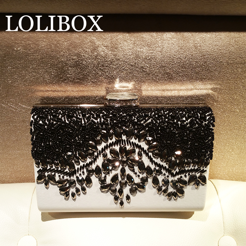 LOLIBOX black and white embroidered ladies evening clutch bags bride wedding party hand Crossbody Bag for women<br>