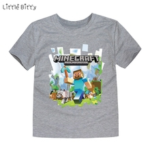 Little Bitty 2017 Summer T-shirt For Boys Costume Children Boys cartoon Shirt Girls minecraft T Shirts Print Tee tops for 2-14