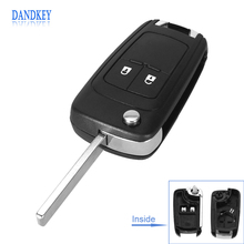 Dandkey Flip Folding Remote Key Case for OPEL VAUXHALL Insignia Astra 2 Button HU100 Uncut Blade(China)