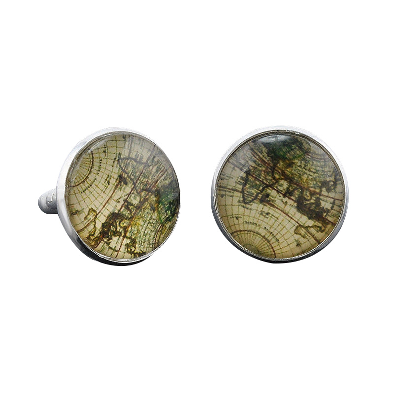 Vintage Mens Old Map Party Gift Cufflinks Laser Cuff Links Silver
