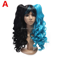 Free Shipping 5 models multi-color 24inch fashion harajuku long curly wig for party, Anime Cosplay Wig with double ponytail