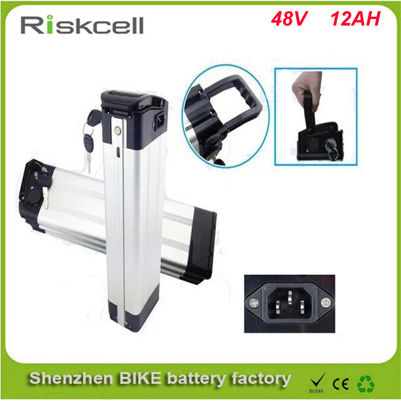 Top discharge 48v 12ah lithium ion ebike battery aluminium case bicycle electric bike battery 48v 500w 750w with charger kit(China (Mainland))