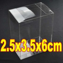 50PCS/LOT  2.5x3.5x6cm Plastic PVC Rectangle Jewelry Display Boxes Transparent Clear Gift Toy Doll Packaging Case