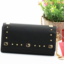 2017 New hello kitty solid women wallets black purse High quality PU Cartoon female Famous brand standard wallet
