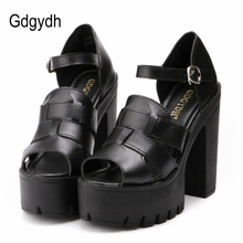 Gdgydh Fashion 2017 new summer wedges platform sandals women Black and White open toe high heels female shoes Free shipping(China)