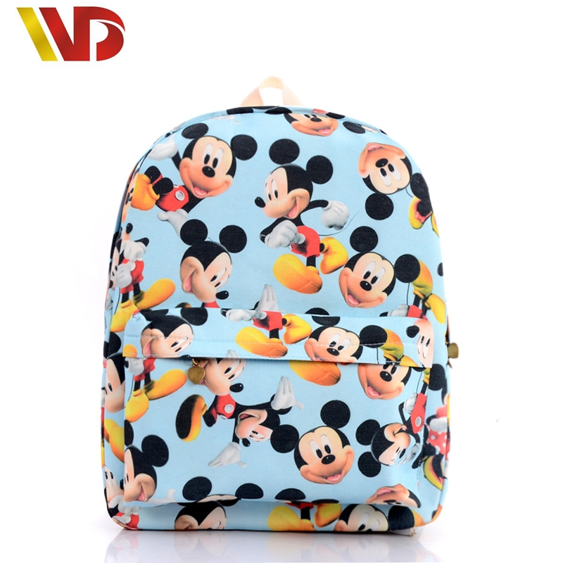 Cute Cartoon Mickey Print Women Canvas Backpacks Children Kids School Book Bags For Teenagers Girls Laptop Bags Printing Mouse<br><br>Aliexpress