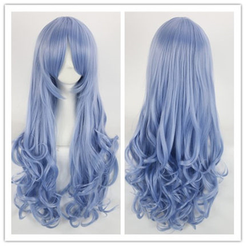 Two Colors Purple Blue Womens Lady Long Hair Wig Date A Live Yoshino Cosplay Wig Curly Synthetic Anime Cosplay Party Full Wig<br><br>Aliexpress