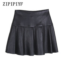 Buy ZIPIPIYF Sexy High Waist PU leather Skirts 2017 Autumn Winter Women Korean Skirt Red Black Vintage Pleated Short Mini Skirt for $22.45 in AliExpress store
