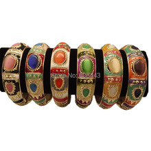 BR252 Bohemia Gypsy Gold Color Cloisonne Enamel Vintage Crystal Bracelet Bangle Cuff jewelry For Woman D6cm W1.8cm(China)