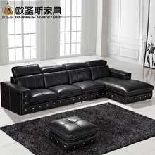 buy sofa set online latest sofa designs 2016 black l shaped modern corner leather sofa germany with adjustable backrest sofa F36(China)
