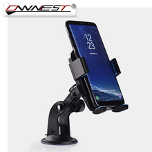 Ownest Universal Car Phone Holder Windshield Mobile Phone Bracket With Locking Suction Mount For Apple iPhone Samsung Huawei(China)