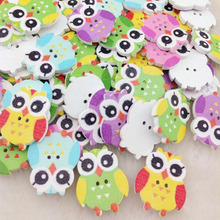 50 pcs Mix Color Baby Owl Birds Carton Buttons Kid' Baby Sewing Craft Lots 25*21 mm WB216