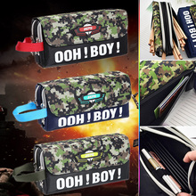 Large Camouflage Pencil Case Creative Zipper Canvas School Pencil Bag For Boys Korean Stationery Free Shipping(China)
