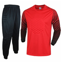 New Mens Goal Keeper Kits Jerseys Sponge Protector Long Sleeve Professional Goalkeeper Uniform High Quality