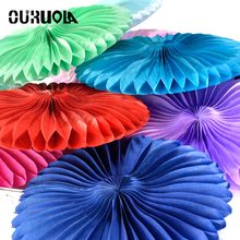 OURUOLA 6pcs Size 8 10 12Inch Tissue Hollow Paper Fans Hanging Home Garden Wedding/Kids Birthday Party/Baby Shower Decoration