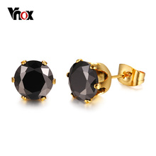 Vnox Classic Black CZ Stone Stud Earrings for Women Simple Design Well Cut Cubic Zirconia Stainless Steel Pin Female Jewelry(China)