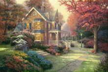 Victorian Autumn Thomas Kinkade HD Canvas Print Living Room Bedroom Wall Pictures Art Painting Home Decoration No Frame(China)