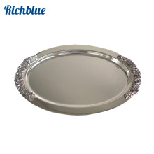 Ever Perfect 45cm Oval Steeling Silver Plated Metal Service Tray Serving Tray For Home Hotel Decoration 1088(China)