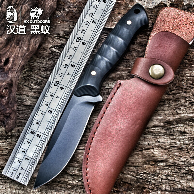 HX OUTDOORS Black ant D2 steel tactical high hardness straight knife self-defense wild survival knife cutting tool outdoor knife<br>