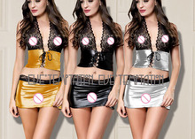 Buy HOT Sexy lace Metallic PVC FAUX LEATHER Underwear Babydolls Lingerie Sheer Dresses Stripper Sleepwear Outfits +miniskirt