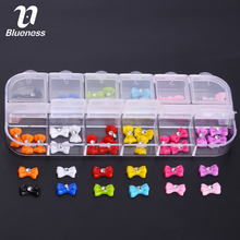 12 Styles Shiny Colorful Bow Nail Art Tips Studs Glitter Rhinestones Tie 3D Nail Decorations ZP063(China)