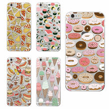 For iphone 7Plus 7 6 6S 6Plus 5 5S 5C SE 4 samsung Pizza Donuts Sushi Hotdog Ice Cream  French bulldog Phone Case Cover fundas
