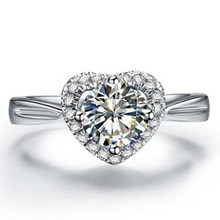 Brilliant Heart Ring 14K Gold Genuine Promise 1Carat Diamond Love Propose Ring Halo Paved Around G14K Jewellery Pledge