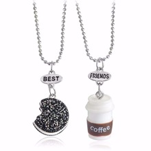 colar masculino Three dimensional coffee cup sandwich cookies a good friend a beautiful combination Necklace pendant necklaces