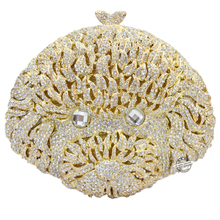 Golden geezer shape evening bags New Fashion people Head Rhinestone clutch bags luxury Crystal Women purse party bag SC165