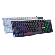 Hot Sell Rainbow Blacklight USB Wired Gaming Keyboard For LOL Dota2 Mini Gamer Keyboard Teclado Support Win10