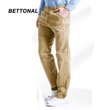 BETTONAL 2017 Spring Autumn Casual Men's Work Pantalon Trousers Solid Color Top Quality 100% Cotton Cargo Pants Men Army 3362
