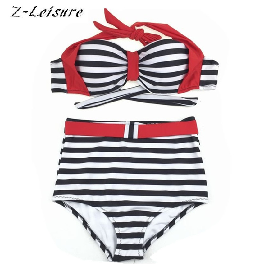 High Waist Swimsuit Striped Woman Swimsuit 2016 New Bikini Swimming Suit for Women Bikini  Women Bikini Swimsuit BK226<br><br>Aliexpress