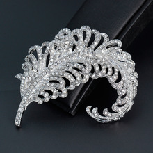 Large Full Crystal Feather Brooches Wedding Bouquet Brooch Pins For Women Suit Hats Clips Corsage Wedding Accessoris Bijoux(China)