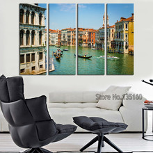 Modern Home Decor Wall Painting Set City Italy Venice Gondolas Canvas Wall Art Picture For Office Bed Room Decoration No Frame