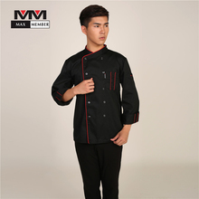 M-3XL Men Long Sleeved 10 Buttons Oblique Collar Autumn Winter Chef Kitchen Working Uniforms Waiter Workwear Jacket Tops XS003(China)
