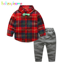 2Piece/3-7Years/Spring Autumn Baby Boys Clothes Gentleman Plaid Shirt+Pants Costume For Kids Suits Children Clothing Sets BC1339(China)